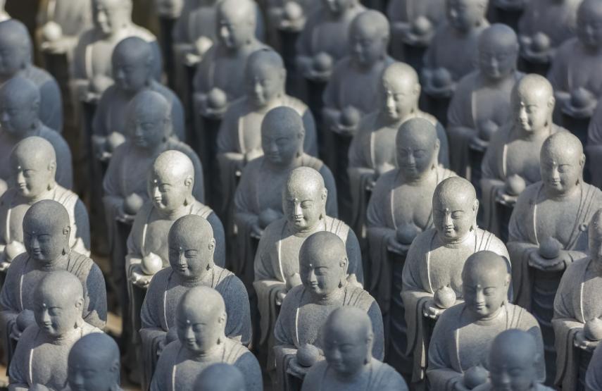 Small Jizo Statues at Hase dera Temple in Kamakura