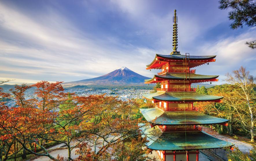 Mt. Fuji with Chureito Pagoda at sunrise Fujiyoshida